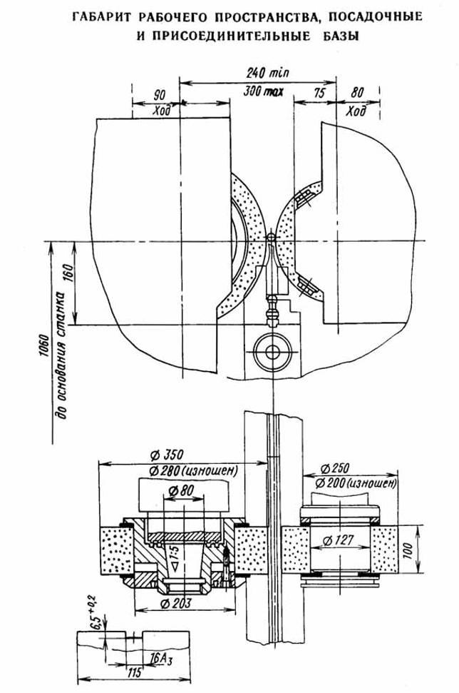 Габарит рабочего пространства шлифовального станка 3М182